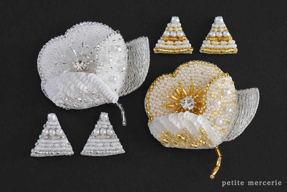 リュネビル刺繍のポピーブローチ
