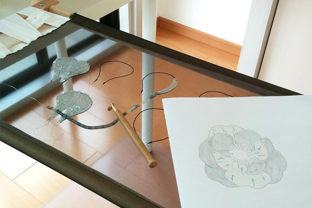 リュネビル刺繍のワイヤーステッチ