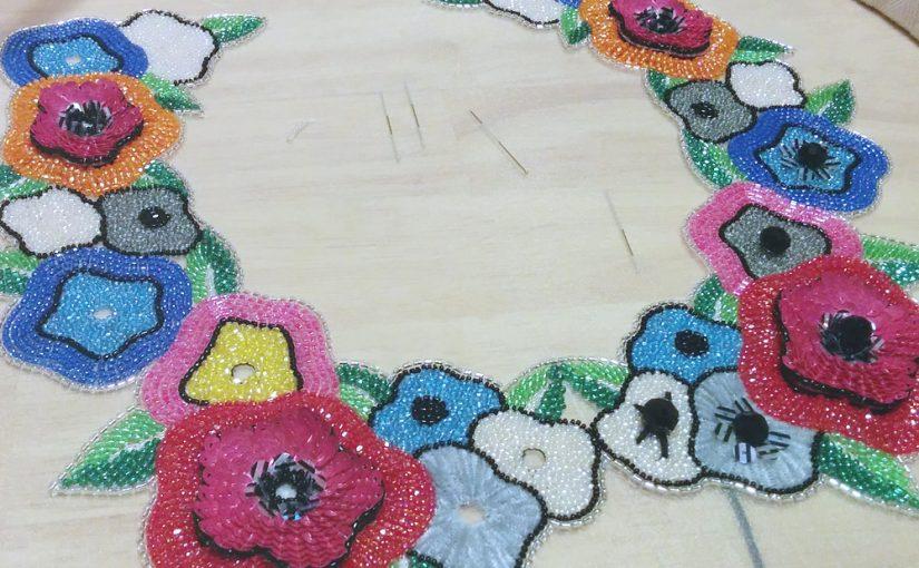 オートクチュール刺繍のつけ襟