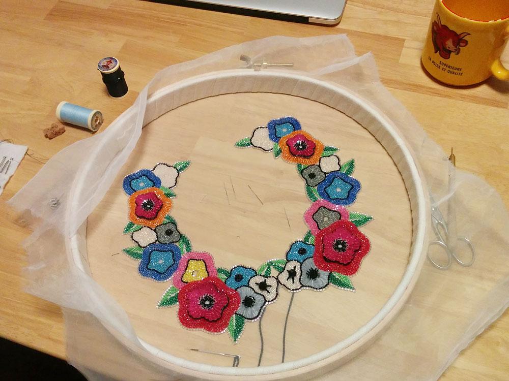 ビーズ刺繍の色合わせの方法