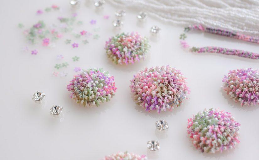 スパンコールの刺繍のレシピ<br />~ 幻想的な色合いのプラントンの花 ~